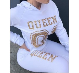 Fashion Hot Stamping Hoo d 2pcs Casual Suit Sets
