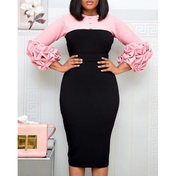 Colorblock S cing Bubble Sleeve Work Dress
