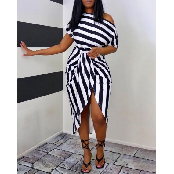 One Shoul r Striped Colorblock Ruched Casual Dress