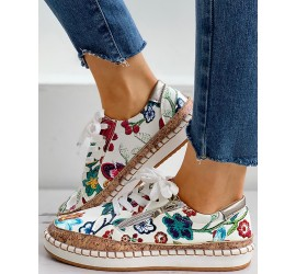 Floral Embroi ry Lace-up Muffin Sneakers