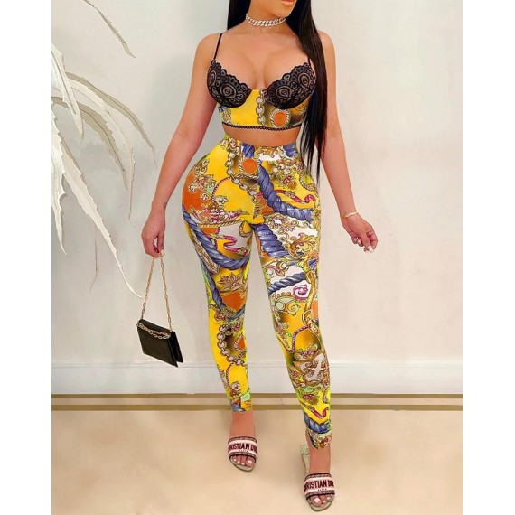 Lace Insert Scarf Print Crop Top   High Waisted Pants Set