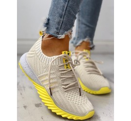 Colorblock Knitted Breathable Lace Up Yeezy Sneakers