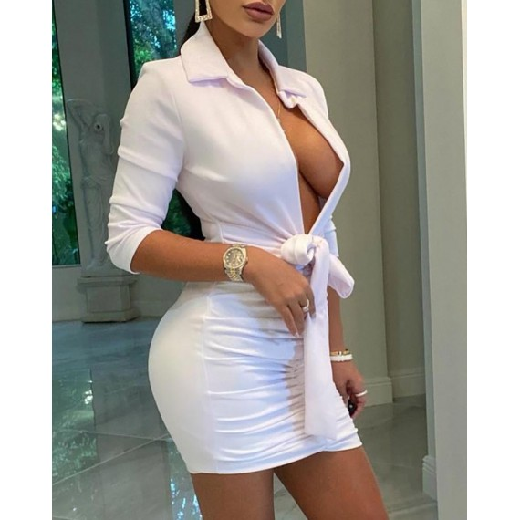 Knotted  sign Plain Plunge Bodycon Dress