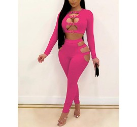 Solid Color Splicing Buckles Cut-out Long Sleeve Cropped Top   Pants Suit Sets
