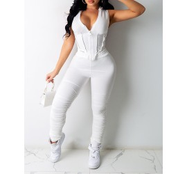 Zipper Front Lace-up Hooded Top   Ruched Pants Set