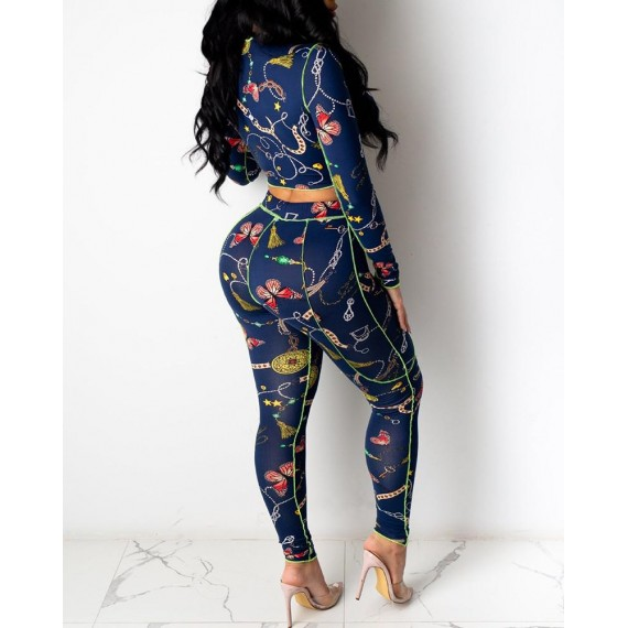 All Over Print Lace Up Top   Pants Set